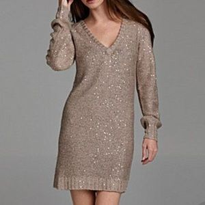 Greylin Sweater Dress Sequin Taupe Gold Small S